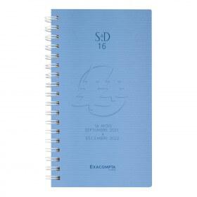 Agenda de poche Linicolor septembre à décembre - 1 semaine sur 2 pages - 9 x 16 cm - disponible dans différentes couleurs - E